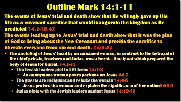 Mark 14.1-11 outline