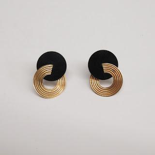14K Gold and Acetate Modernist Earrings