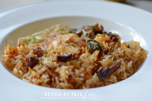 Ndudu by fafa the ghanaian fried rice recipe angwa mo the rice is usually cooked with salted beef and served with omelette and or tinned sardines the inclusion of salted beef gives the rice an umami flavour ccuart Gallery