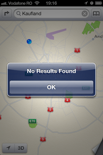 iOS 6 Apple Maps no results for large retail store