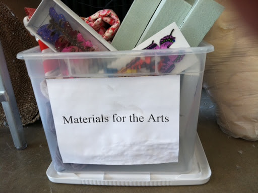 Our donation bin in the Craft Room.