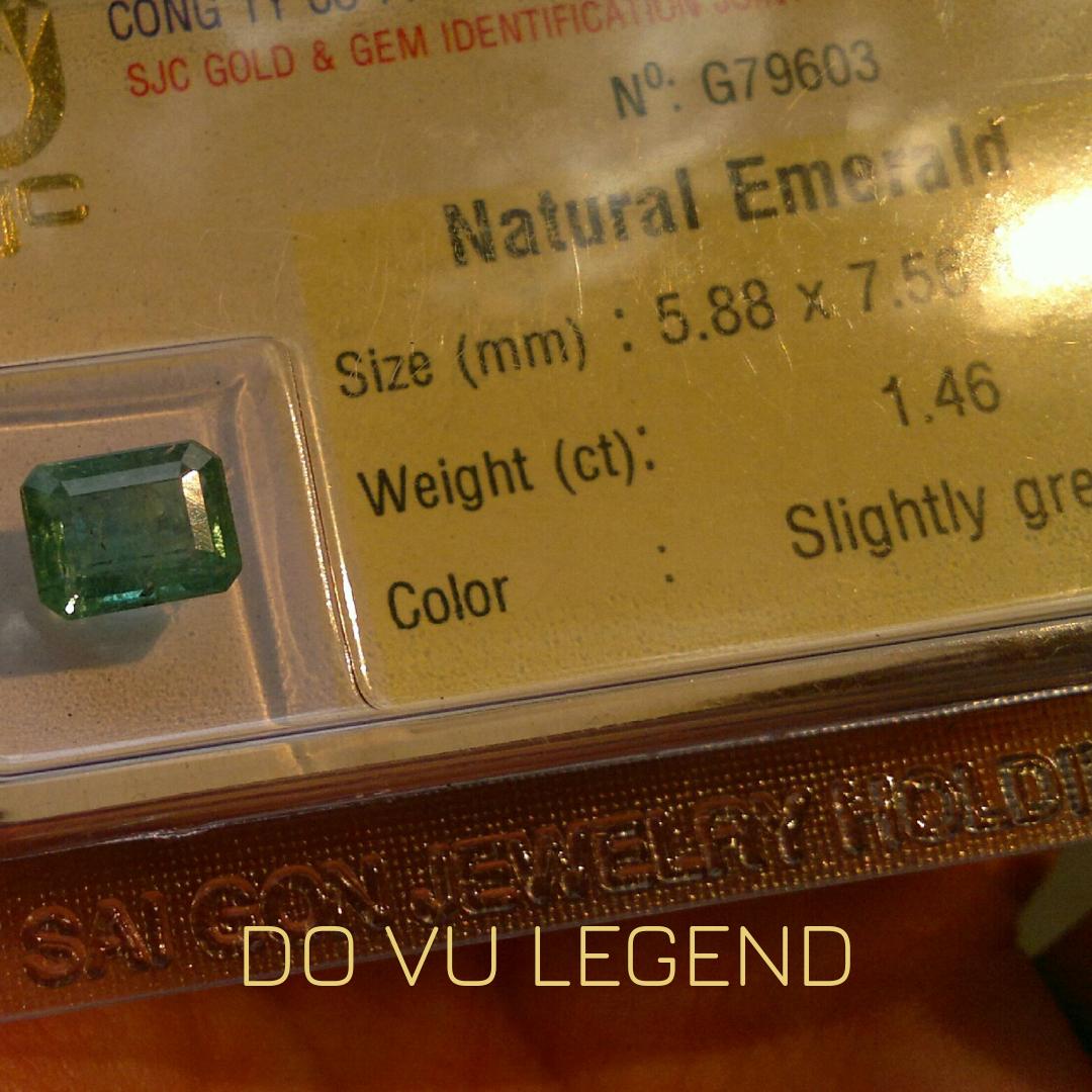 Đá quý Ngọc Lục Bảo hình chữ nhật 1.46cts, đã kiểm định SJC