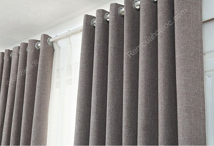 rèm vải đẹp hà nội một màu ghi xám 4