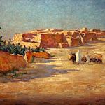 Château de Nemours : exposition Ernest Marché, Entrée du village d'El Kantara, Salon 1908 - Huile sur toile, 38 x 55 cm, CMN inv. 116, Fonds Ernest Marché