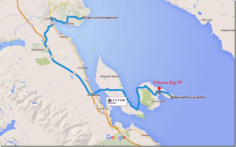Cape Lazo Campground to Tribune Bay Provincial Park - Google Maps