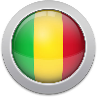 Malian flag icon with a silver frame