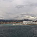 Blick auf Slit auf der Überfahrt zur Insel Brac