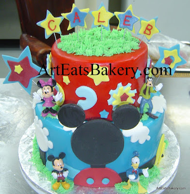 Two tier Mickey Mouse Clubhouse unique fondant kids birthday cake with stars, gears and toy figures