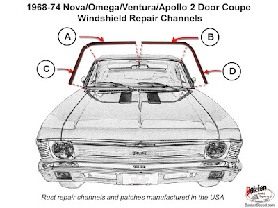 1968 - 1974 GM X-Body Nova / Ventura / Apollo Windshield and