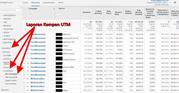 Google Analytics Reporting UTM Campaigns