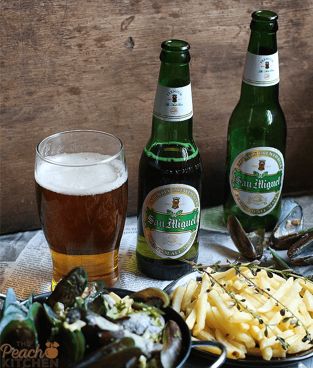San Miguel Premium All Malt Beer paired with Mussels and Fries