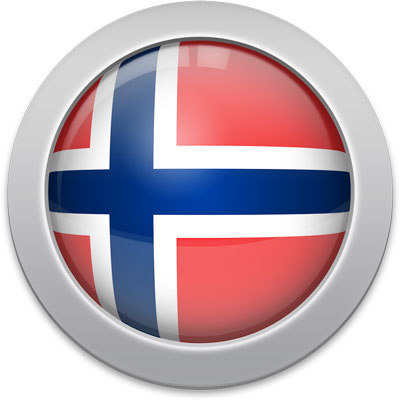 Norwegian flag icon with a silver frame