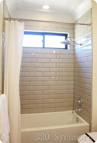 Inspirational beige subway tile bath