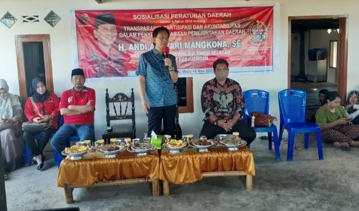 Anggota DPRD Sulsel Andi Ansyari Mangkona Gelar Sosialisasi Perda Nomor 6 Tahun 2016 di Kabupaten Wajo