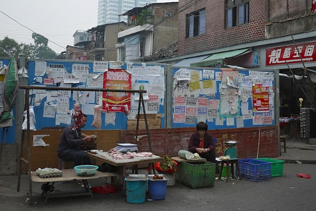 meat and vegetables for sale near Beizheng Street in Changsha, China