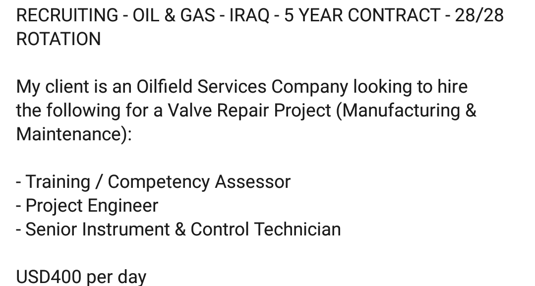 Oil and Gas Jobs: 28/28 Rotational Jobs in Iraq