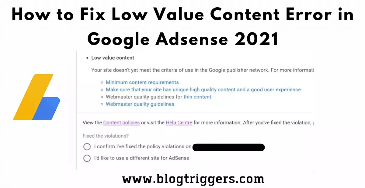 How to Fix Low Value Content Error in Google Adsense 2021