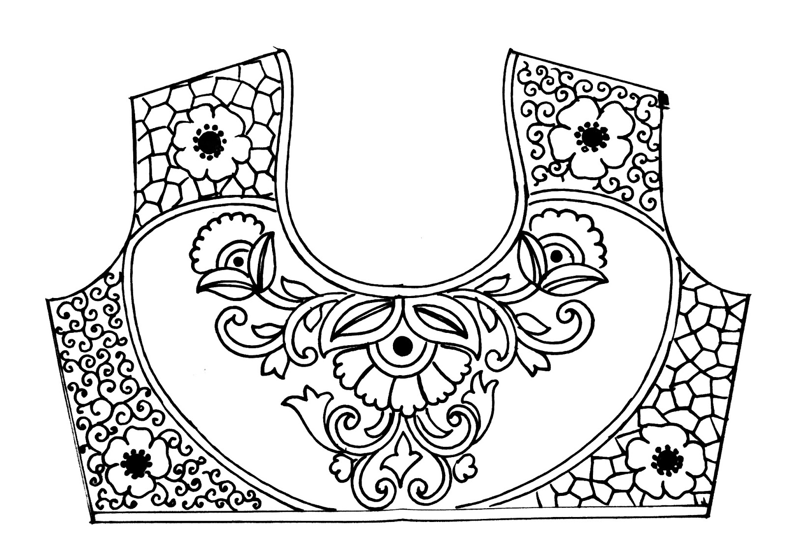 Top 3 emroidery saree blouse designs Sketches for hand work, blouse design patterns pencil sketch on tracing paper for maggam work, hand work.
