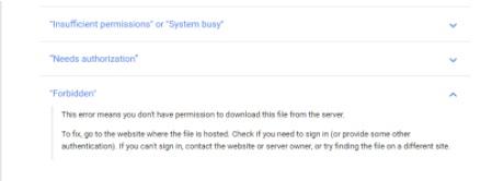 Failed-Forbidden Error when downloading file from Google