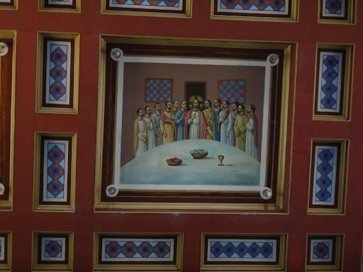 A Santa Ceia a qual se refere a Quinta Feira Santa - Santuário Sagrado Coração de Jesus - Detalhes do Teto