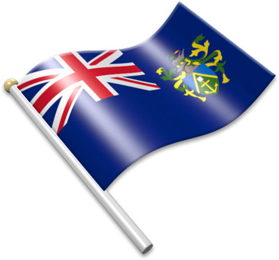 The Pitcairn Island flag on a flagpole clipart image