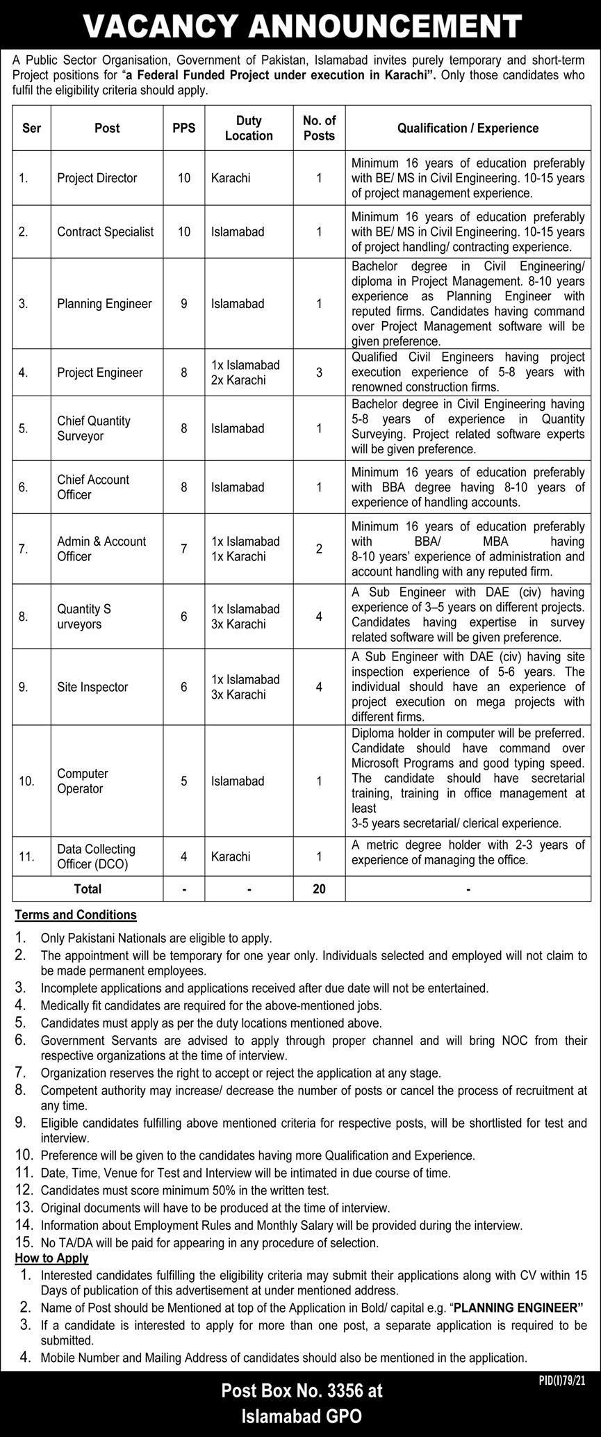 PO Box 3356 Islamabad Jobs 2021