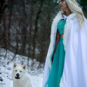 Warg Princess by Andreas Marmarinos - People Portraits of Women ( forest, fantasy, snow, series, woods, gameofthrones, cold, blonde, princess, female, dog )