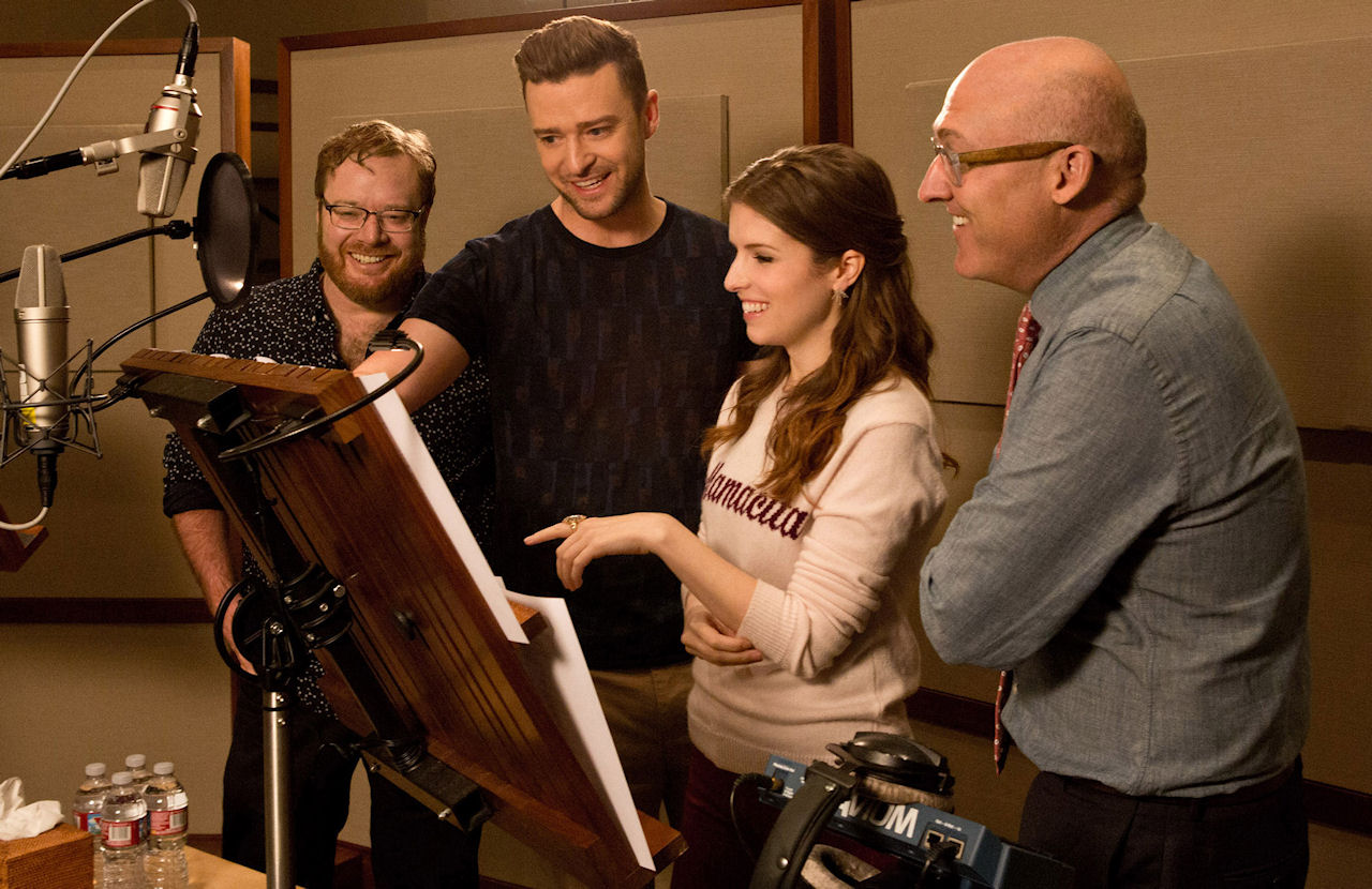 Caption: (L-R) TROLLS co-director Walt Dohrn, Anna Kendrick, Justin Timberlake, and director Mike Mitchell in the recording studio at DreamWorks Animation in Glendale, California.