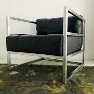 Modern Chrome & Leather Club Chair #1