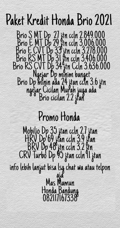 Paket Kredit Honda Brio Terbaik 2021