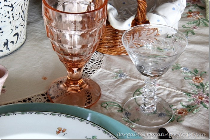 Pink Depression seems and Etched wine stems-Bargain Decorating with Laurie