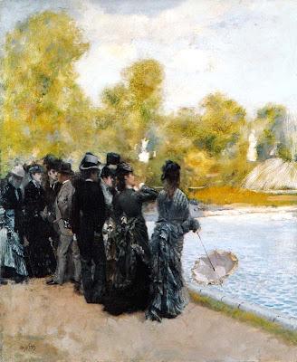 Giuseppe de Nittis - Accanto al laghetto dei giardini di Luxembourg, 1875