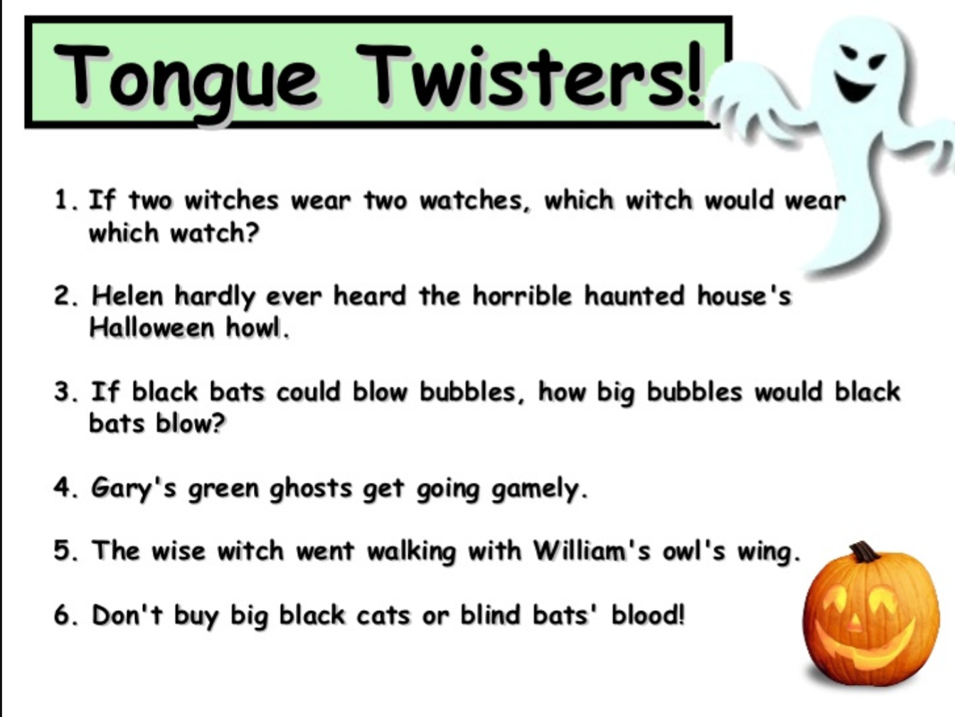 Year 4 At Costa Blanca School HALLOWEEN TONGUE TWISTERS