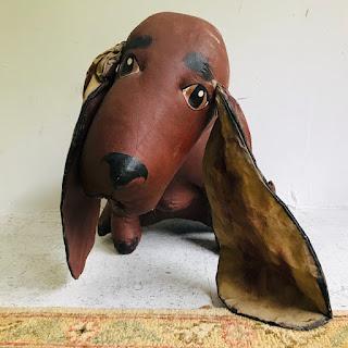 American Folk Art Signed Canvas Dog