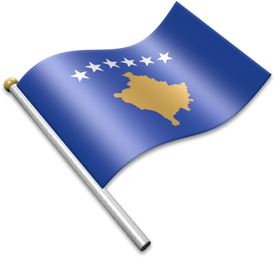 The Kosovar flag on a flagpole clipart image