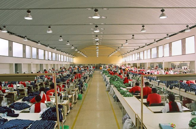 Sewing line in garment industry