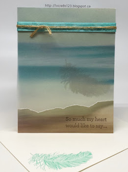 Linda Vich Creates: Blogging Hiatus and Sympathy Cards. Embossed feather on vellum overlay above Scenic Scenery DSP.