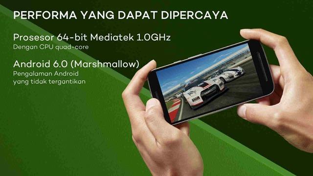 Moto E3 Power prosesor 64 bit Mediatek 1GHz CPU 4 core dengan Android 6 Marshmallow pengalaman Android yang tidak tergantikan