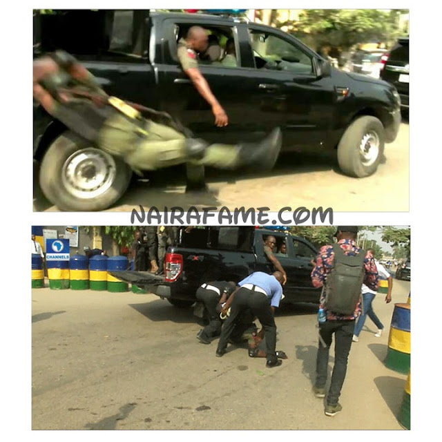 Police officer fell off a moving patrol van while jubilating on Tuesday in Lagos State