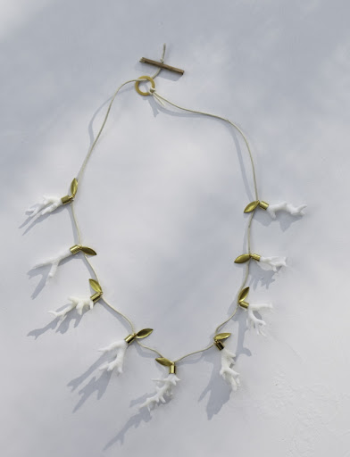 A necklace made of broken coral