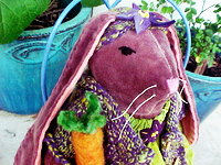 "Strong Desire for Purple - 10"" Bunny in a Hand Knit Sweater and Headband"