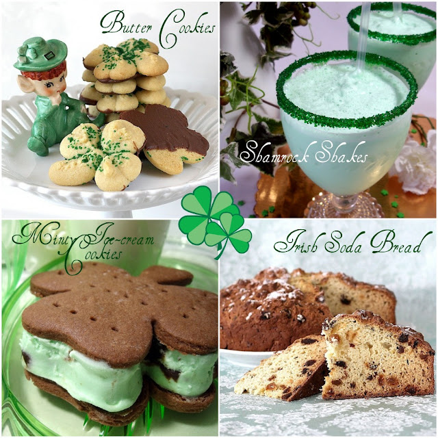 St. Patrick's Day Blog Crawl with recipes for Buttery Shamrock cookies, milk shake, minty ice cream sandwiches, and Irish soda bread.