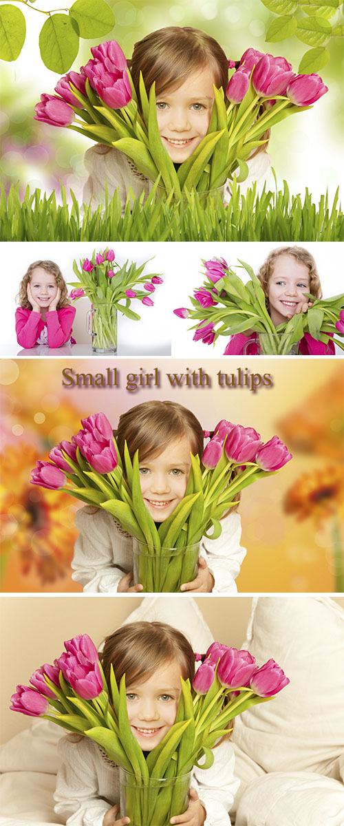 Stock Photo: Small girl with tulips