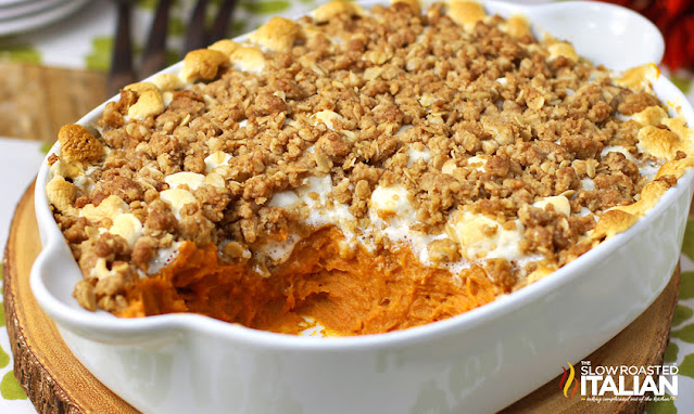 casserole dish of Sweet Potato Casserole