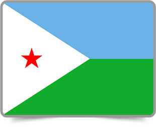 Djiboutian framed flag icons with box shadow