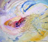Sieben Spiralen, Acryl mit Schnur auf Leinwand 80x70, 2007 verkauft