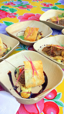 Tony Meyers of Serrato had quite the teamwork going at his booth as he hurriedly tried to get out of the weeds and serve up his Night Market 2015 dish of Moroccan Braised Lamb Shoulder in Phyllo with Golden Raisins, Pistachio, Curried Yogurt and Mt Mint