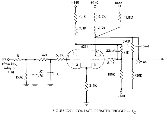 "Schematic of one ""trigger"" circuit of the tube module."