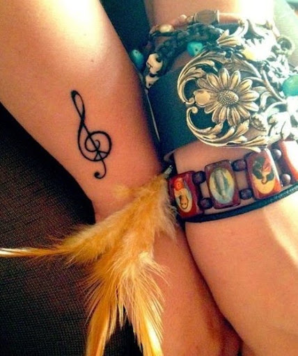 Music tattoos on wrist