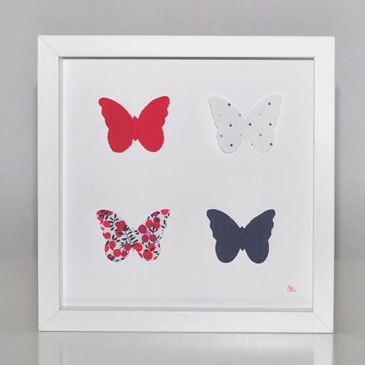 Grand cadre papillons Papillons Bleu blanc rouge Mille Coquelicots